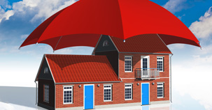 Large unbrella over red roof