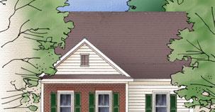 Cartoon roof with shingles